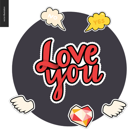 diamond heart: Love you patches lettering , hand drawn vector stickers set. A set of few cartoon hand drawn elements. Love you lettreing, wings, diamond heart, bubbles Yes and No, on the round dark background