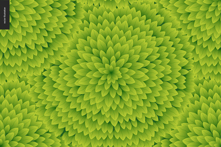 catroon: Foliage seamless pattern. Green leaf seamless vector catroon hand drawn pattern Stock Photo