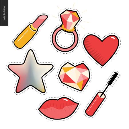 coeur diamant: Patches, vecteur main dessinée autocollants fixés. Un ensemble de quelques éléments tirés de la main de bande dessinée. Rouge à lèvres, bague avec un énorme diamant, coeur, étoile, lèvres, brosse à mascara et un c?ur de diamant. Illustration