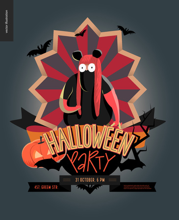 Halloween Party composed emblem invitation. Flat vectror cartoon illustrated design of a fat girl wearing mouse costume, on striped shield, bats, pumpkin jack-o-lantern, ribbon, lettering Illustration
