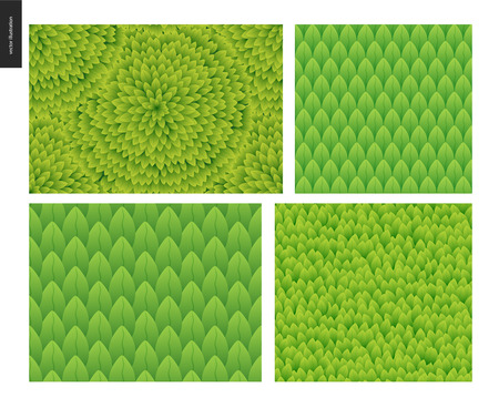 catroon: Foliage seamless patterns set. Green leaf seamless vector catroon hand drawn patterns
