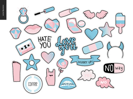 phrases: Set of contemporary girlish patches elements. A set of vector girls stuff like makeup, hearts, phrases, notes, stickers, stars, wings, tape, popsicle, lips Vector stickers kit Illustration