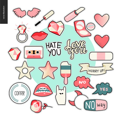 girlish: Set of contemporary girlish patches elements. A set of vector girls stuff like makeup, hearts, phrases, notes, stickers, stars, wings, tape, popsicle, lips Vector stickers kit Illustration