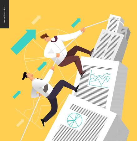 Escalada en una pila de documentos contables, el concepto de sociedad de negocios - dos hombres de negocios aumento de la montaña apilado de los documentos contables caderas, ayudando el uno al otro.