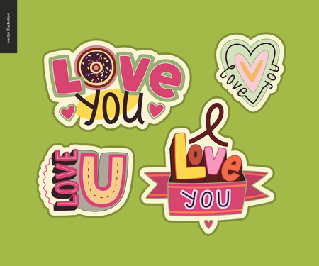 Set of contemporary girlie Love You letter symbol.