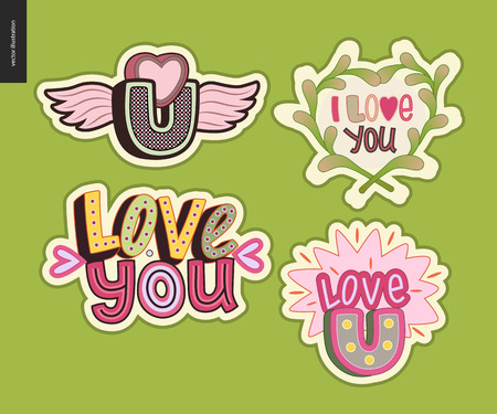 Set of contemporary girlie Love You letter. A set of vector patches and letter composition. Vector stickers kit.