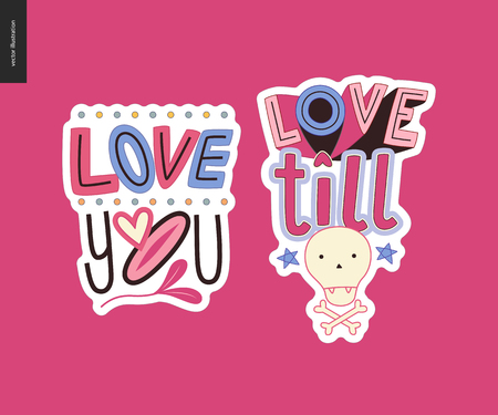 Set of contemporary girlie Love letter logo. A set of vector patches, logo and letter composition Love You and Love till Death. Vector stickers kit.
