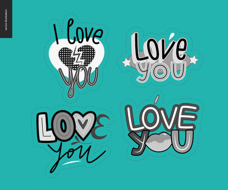 Set of contemporary girly Love You letter. A set of vector patches, logo and letter composition. Vector stickers kit. Иллюстрация
