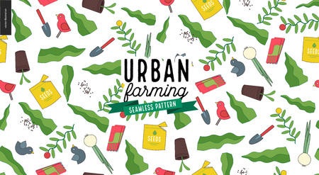 Urban farming, gardening or agriculture seamless pattern.