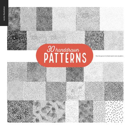 Hand drawn black and white 30 patterns set. Fur or leaves seamless black and white patterns.