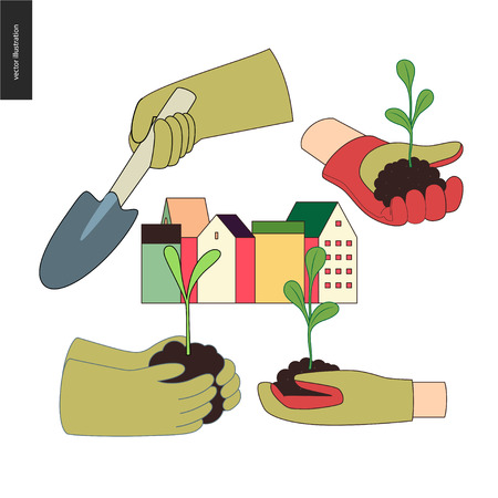 Urban farming, gardening or agriculture. Set of hands wearing the gauntlet holding sprouts and a scoop, and a block of town houses