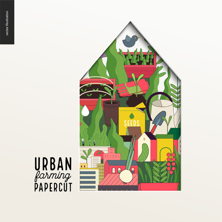 Papercut - colorful layered house on Urban farming, gardening and agriculture Illustration