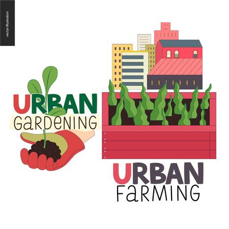 Städtisches Landwirtschafts-, Gartenarbeit- oder Landwirtschaftszeichenlogo. Ein hölzernes Saatbeet mit Blättern des Salats, ein Haus auf dem Hintergrund. Hand mit Stulpe und Spross,
