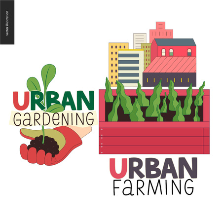 Urban farming, gardening or agriculture sign logo. A wooden seedbed with leaves of salad, a house on the background. A hand wearing gauntlet holding a sprout, Иллюстрация