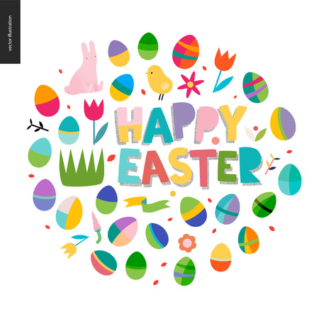 Happy easter lettering surrounded with traditional elements - eggs, tulip, bunny, grass, ribbon, chicken, flowers, carrot, plants.