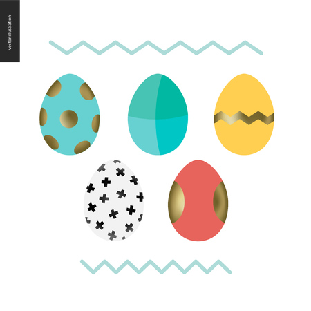 Set of painted eggs - arranged traditional Easter eggs Illustration