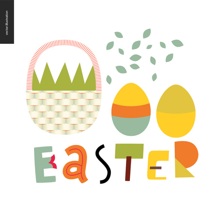 Easter basket and lettering with eggs and petals Illustration