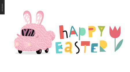 Happy Easter lettering and decorated bunny car with ears, and a tulip Illustration