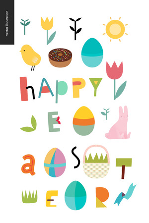 Happy easter lettering surrounded with traditional elements - eggs chicken rabbit, basket, tulip, grass, house, ribbon, cake and sun Illustration