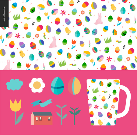A Seamless Easter pattern with a mug as an example of usage and few traditional elements Illustration
