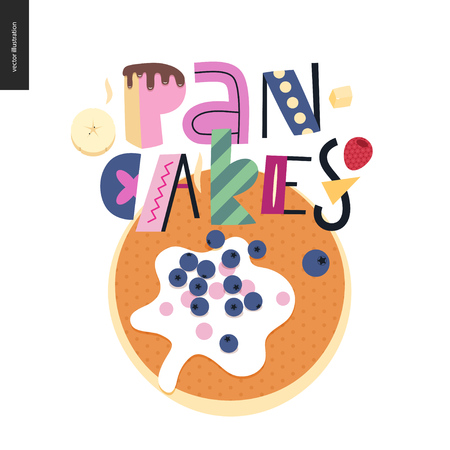Lettering composition Love Spring Pancakes and a pancake with sour cream and bilberries Illustration