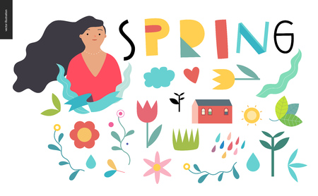 Spring lettering and elements - set of seasonal elements.