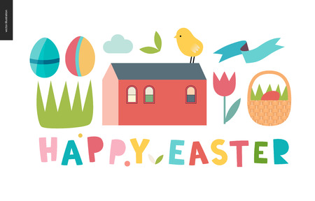 Happy easter lettering surrounded with traditional elements - eggs, chicken, basket, tulip, grass, house and ribbon Illustration