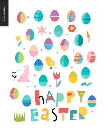 Happy Easter lettering surrounded with traditional elements - eggs, chicken - rabbit -tulip, grass, house, ribbon, cake and sun.