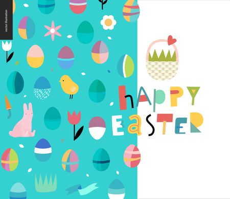 Happy Easter lettering and pattern with traditional elements - eggs, chicken, rabbit - basket - tulip, grass, house, ribbon, cake and sun.