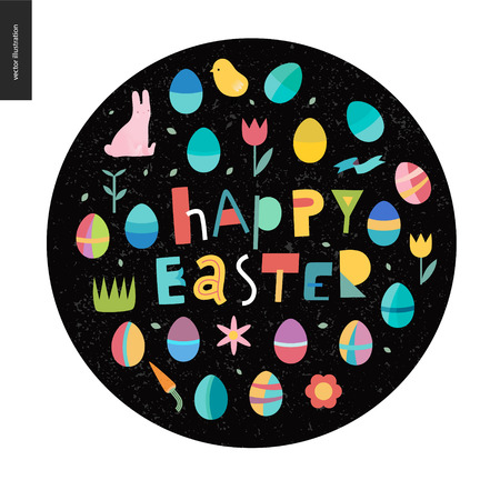Happy easter lettering surrounded with traditional elements - eggs, tulip, bunny, grass, ribbon, chicken, flowers, carrot, plants on the black background