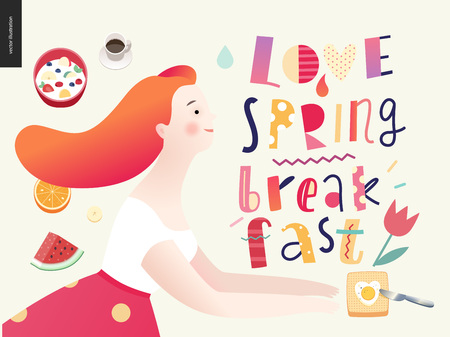 Love, spring, breakfast Lettering composition and a couple running towards to each other and a set of breakfast meal
