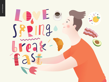 Love, spring, breakfast Lettering composition and a couple running towards ro each other and a set of breakfast meal