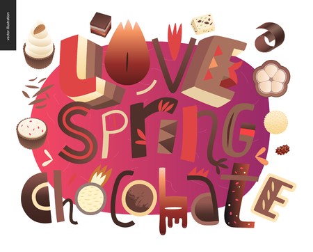 Love spring chocolate slogan - lettering composition with chocolate bonbons and cacao beans