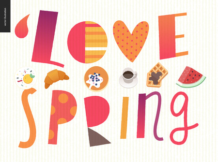 Love, spring, breakfast Lettering composition and a set of breakfast meal Illustration