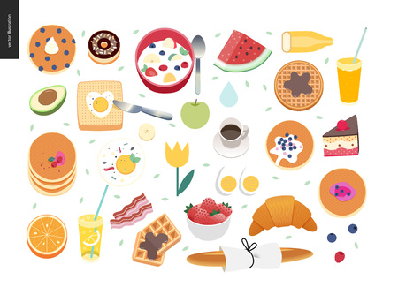 set of breakfast meal with eggs, bread, pancakes, fruits, juice. Vector illustration.