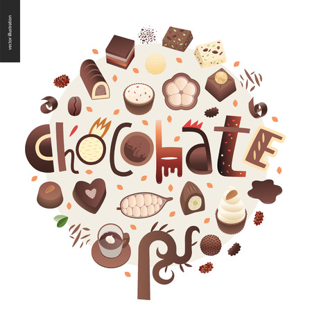 Love spring chocolate slogan - lettering composition, set of dark and white chocolate crisp bonbons and bars, choclate chips, coffee and cacao beans and leaves