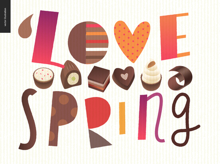 Love spring chocolate slogan - lettering composition with chocolate bonbons and coffee bean Illustration