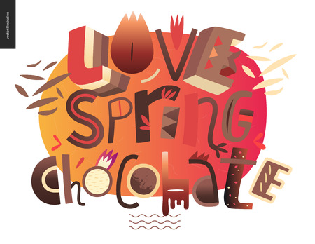 Love spring chocolate slogan - lettering composition with chocolate shavings