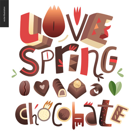 Love spring chocolate slogan - lettering composition with chocolate bonbons and coffee bean. Illustration