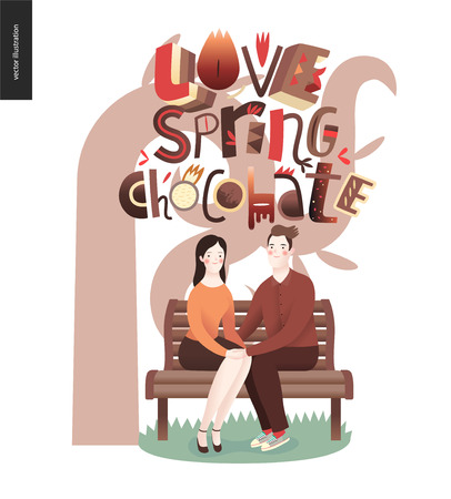 Love spring chocolate slogan - lettering composition and a couple sitting on the bench.