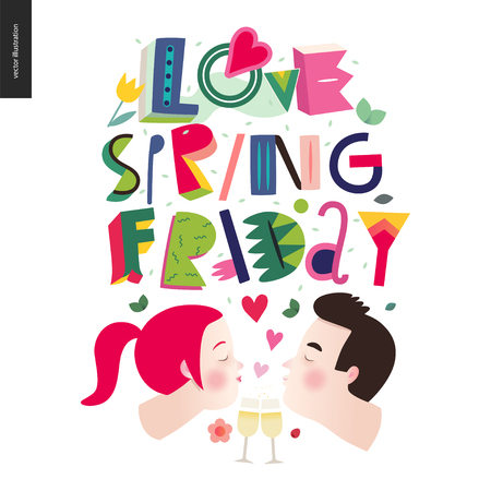 Love spring Friday - lettering composition and kissing couple.