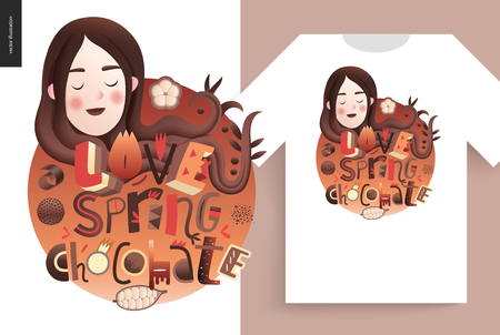 Love spring chocolate slogan, lettering composition with a girl portrait and a t-shirt usage example. Illustration