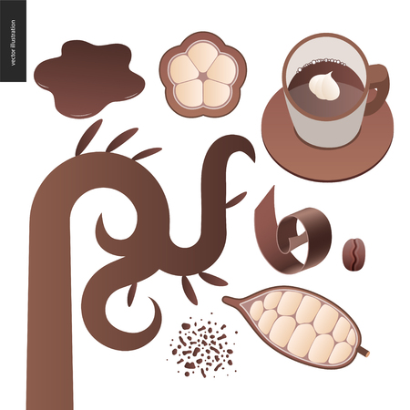 Love spring chocolate - set of dark and white chocolate, chocolate chips, coffee and cacao beans and leaves