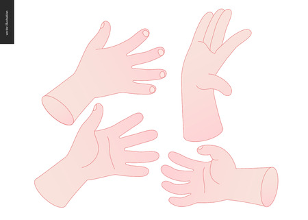 The vector illustrated set of outlined hand drawn hands with various gestures.