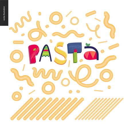 Italian restaurant set - pasta and lettering Pasta Vector illustration.