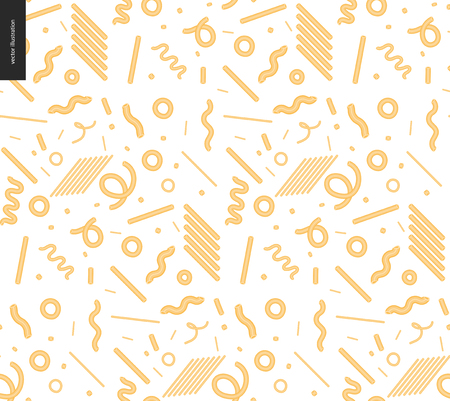Italian restaurant set - pasta seamless pattern on the transparent background Vector illustration.