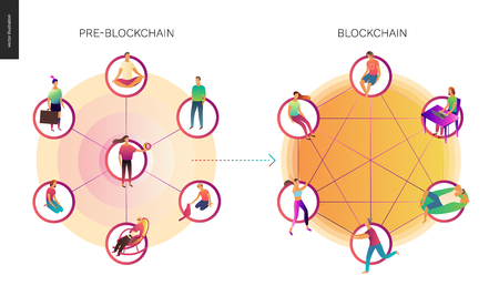 Blockchain concept vector illustration - scheme showing the cryptocurrency transaction processing and user connection Illustration