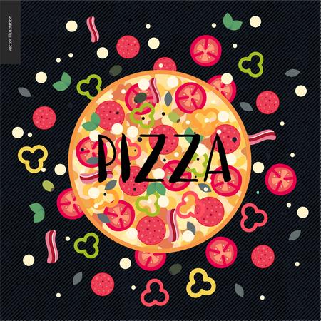Italian restaurant set. Pizza with ingredients around