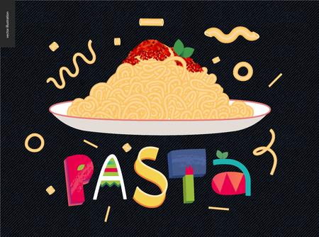 Italian restaurant set. Pasta bolognese and lettering Pasta