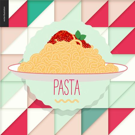 Italian restaurant set. Pasta bolognese on the geometric background